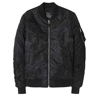 ist kunst 男士迷彩MA-1飞行员夹克短外套黑色