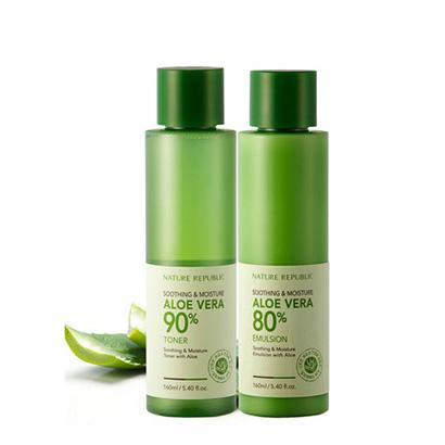 韩国 Nature Republic 自然乐园芦荟保湿水乳套装化妆水160ml/瓶+乳液160ml/瓶