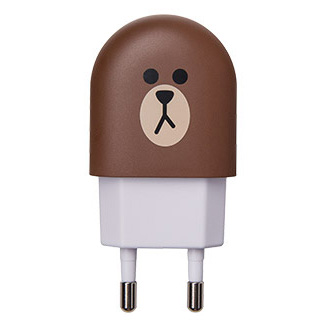 LINE FRIENDS 布朗熊脸型可爱创意USB充电器插头